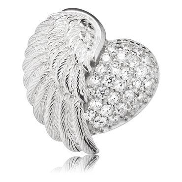 Engelsrufer Anhänger Herzflügel Silber rhodiniert mit Stein ERP-HEARTWING-ZI