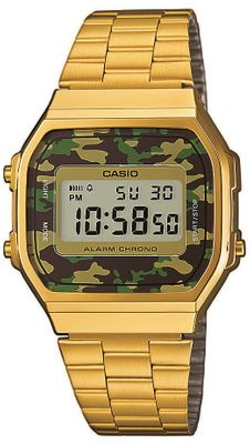 CASIO Uhr A168WEGC-3EF Retro Digitaluhr Herren Gents Watch vergoldet / Camouflage