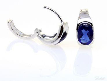 Schmuck Damen Creolen Ohrringe echt Sterling Silber 925 mit Stein blau