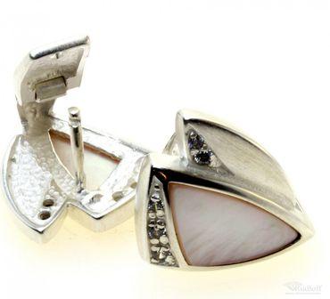 Schmuck Damen Creolen Ohrringe echt Sterling Silber 925 Zirkonia Perlmut AS014935