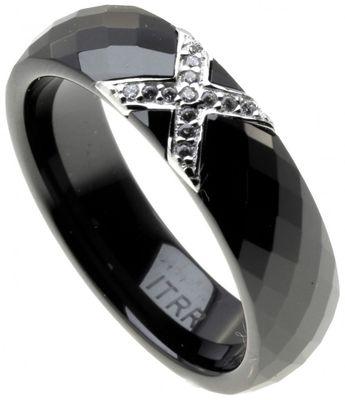 ITRR Damen Ring Schwarz Keramik Silber mit Zirkonia CRBZ-SS02