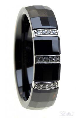 ITRR Damen Ring Schwarz Keramik Silber mit Zirkonia CRBZ-SS04
