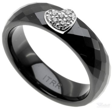ITRR Damen Ring Schwarz Keramik Silber mit Zirkonia CRBZ-SS01 Herz