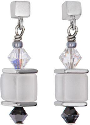 Coeur de Lion Geo Cube Ohrringe Swarovski Kristalle & Glas grau-silber 4752/21-1200