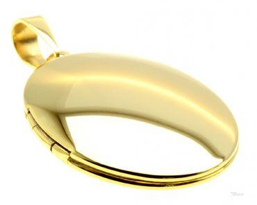 Medaillon aufklappbar für 2 Fotos Anhänger Edelstahl IP Gold me616027 Gratis Gravur