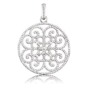 Engelsrufer Anhänger Ornament mit 340 weißen synth. Zirkonia Silber rhodiniert, 33mm