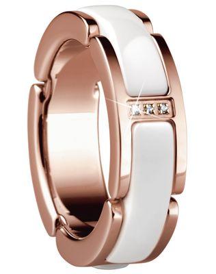 Bering Time Schmuck Edelstahl gold rosé Ceramic weiß Ring Fingerring 502-35