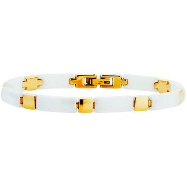 Damen Armband Edelstahl vergoldet Ceramic weiß 19cm 70-435101-19