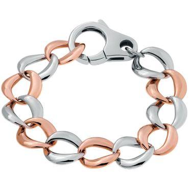 Damen Breites Armband Edelstahl bicolor rosé-vergoldet 21cm 70-495115-21