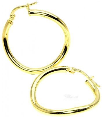 Ohrringe Scharnier Creolen echt Silber 925 gelbvergoldet ITRR