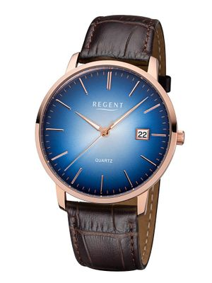 Regent Retro-Armbanduhr für Herren Edelstahl rosé Lederband braun BA-304