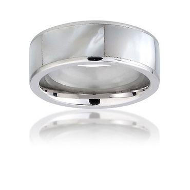Ring für Damen aus Edelstahl mit Perlmutt-Steinchen poliert