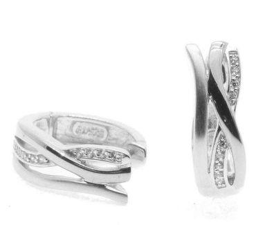 Damen Ohrringe Scharnier Creolen echt Silber 925 mit Zirkonia 410761