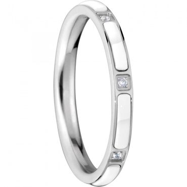 BERING Stapelring Edelstahl Keramik-Link silber / weiß schmal Arctic Symphony Collection 503-15-X1