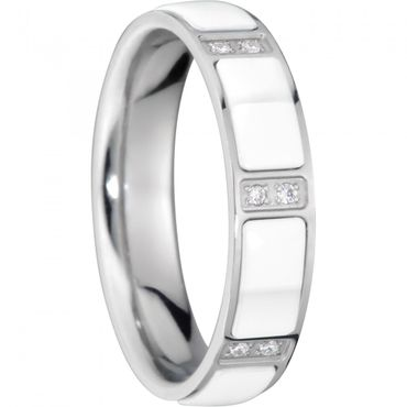 BERING Stapelring Edelstahl Keramik-Link silber / weiß breit Arctic Symphony Collection 503-15-X2