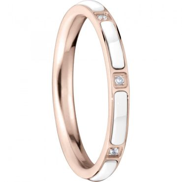 BERING Stapelring Edelstahl Keramik-Link rosé / weiß schmal Arctic Symphony Collection 503-35-X1