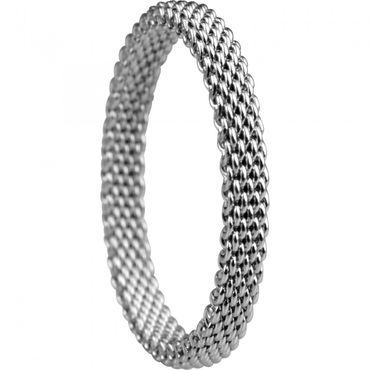 BERING Stapelring Edelstahl Mesh silber schmal Arctic Symphony Collection 551-10-X1
