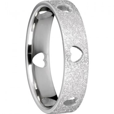 BERING Stapelring Edelstahl Sparkling effect Herz silber breit Arctic Symphony Collection 558-19-X2