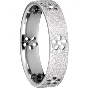 BERING Stapelring Edelstahl Sparkling effect Blume silber breit Arctic Symphony Collection 559-13-X2