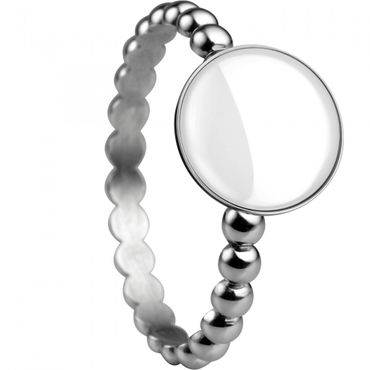 BERING Stapelring Edelstahl Kugelring mit Keramik-Element silber schmal Arctic Symphony Collection 572-15-X1