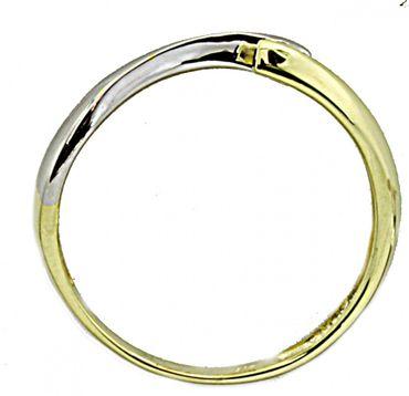 Ring für Damen echt Gold 333 (8kt) bicolor mit Zirkonia-Steinchen 410979