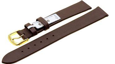 Flaches Uhrenarmband Ersatzband echt Leder braun 602-03 Damenlänge