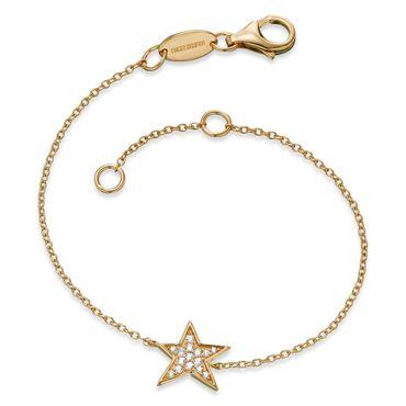 Engelsrufer Armband Stern mit 15 weißen synth. Zirkonia Sterling Silber vergoldet