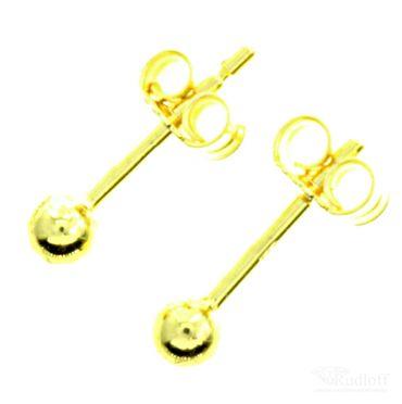 Kleine Ohrstecker mit Kugel aus Gold (8kt.) - 3mm