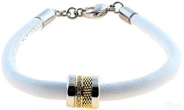 BERING Armband mit Charm-Kombination Leder weiß Edelstahl bicolor asc-charm7