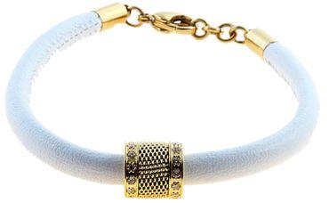BERING Armband mit Charm-Kombination Leder weiß Edelstahl IP gold asc-charm8