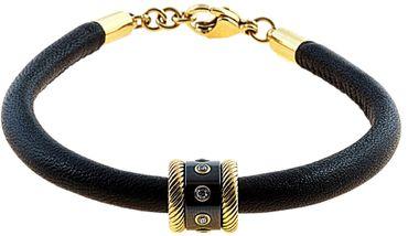 BERING Armband mit Charm-Kombination Leder schwarz Edelstahl IP gold asc-charm10