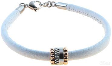 BERING Armband mit Charm-Kombination Leder weiß Edelstahl bicolor asc-charm14