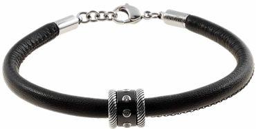 BERING Armband mit Charm-Kombination Leder schwarz Edelstahl Keramik asc-charm35