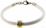 BERING Armband mit Charm-Kombination Leder weiß Edelstahl bicolor asc-charm42 001