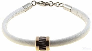 BERING Armband mit Charm-Kombination Leder weiß Edelstahl bicolor asc-charm45