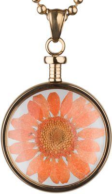 blumenkind Anhänger Edelstahl vergoldet Chrysantheme orange BL01MGOOR