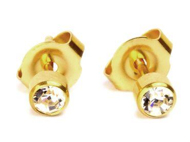 Medizinische Erstohrstecker Gesundheitsstecker vergoldet mit Steinchen (Comfort)