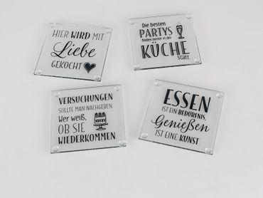 Glasuntersetzer 4er Set mit Sprüchen 10x10cm 814425