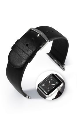 "Lederband ""Detroit Smart"" schwarz für Apple Watch 38mm / 42mm Uhrenarmband"