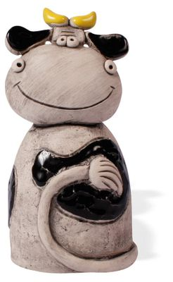 Spardose Kuh Erna aus Keramik, handgefertigt 17cm verschiedene Farben