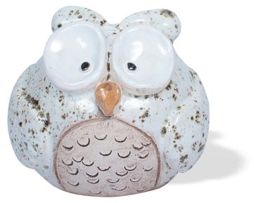 Spardose Eule Happy aus Keramik, handgefertigt 11cm verschiedene Farben