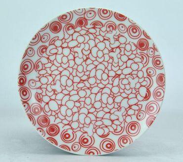 """Teller """"Nippon"""" Porzellan 19 cm Kiesel/Kreise Rot"""