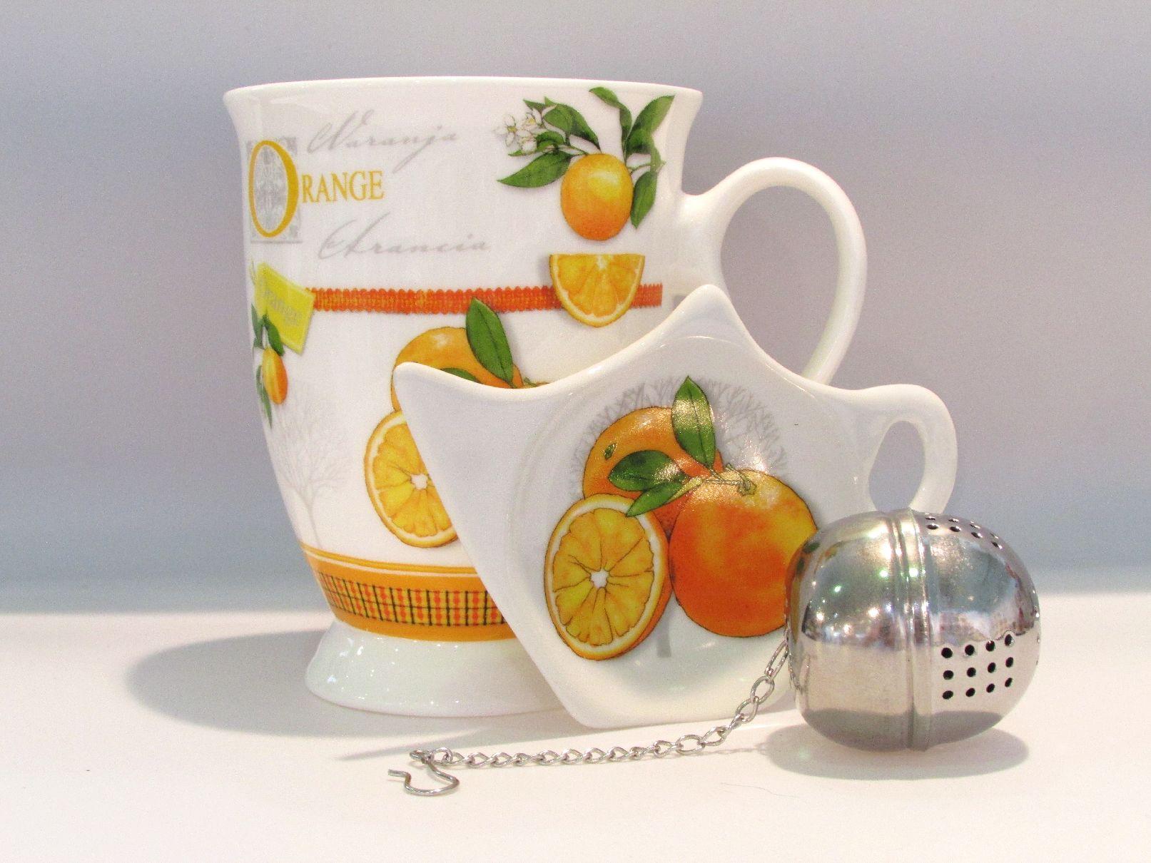 teeset becher mit teebeutelablage tee ei in geschenkbox orange zuhause tassen und becher. Black Bedroom Furniture Sets. Home Design Ideas