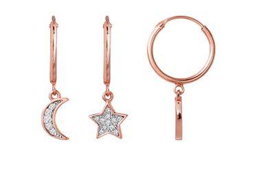XENOX Damen-Ohrringe Creolen Sweet Petite 925 Silber rosé Zirkonia XS3749R