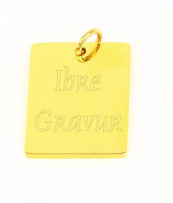 Ketten-Anhänger rechteckig vergoldet Gravurplatte Edelstahl inkl Gravur