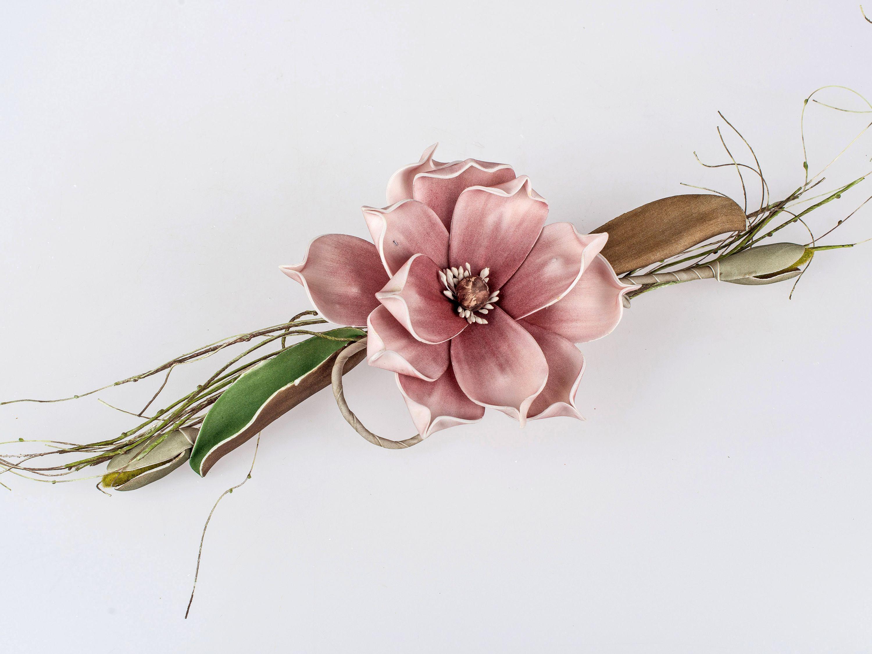 Tischdeko Kunstblume Magnolienzweig Altrosa 14x38cm Zuhause Blumen