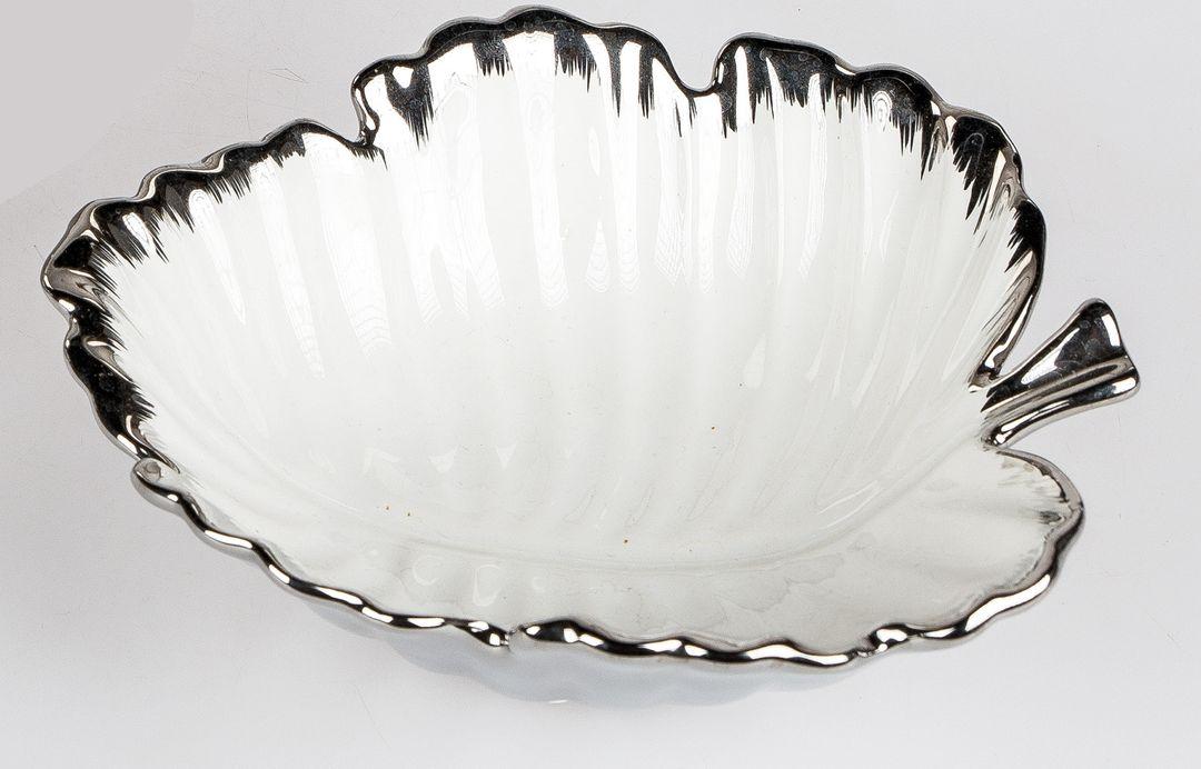 Deko-Schale, Blatt; 18cm weiss-silber aus glasierter Keramik Zuhause ...
