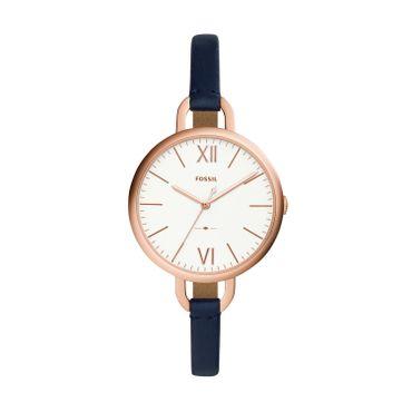 Fossil Damen-Armbanduhr Annette Analog Quarz Leder blau ES4355