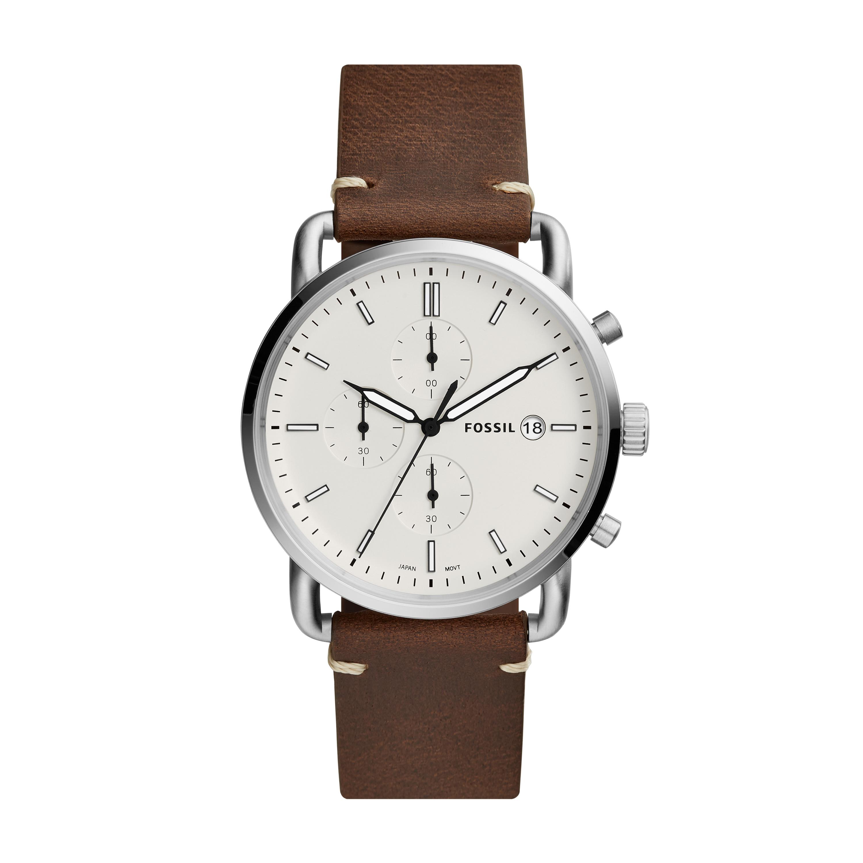 Fossil Quarz Armbanduhr Commuter Leder Chronograph The Chrono Herren QxtshdCr