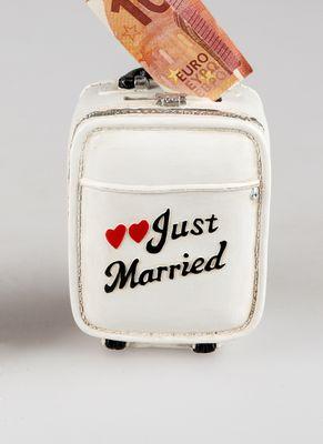 """Reisekasse Koffer """"Just Married""""  Spardose für Geldgeschenk 12cm"""